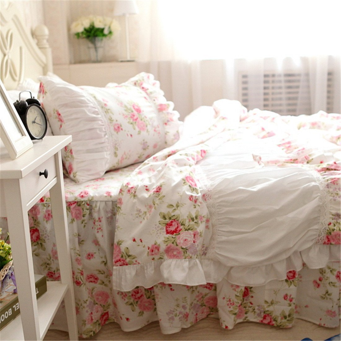 FADFAY Cotton Bedding,Shabby Pink Rose Floral Print Bedding Set,Elegant Country Style Vintage Ruffles Duvet Cover Bed Sets with Lace Queen Size
