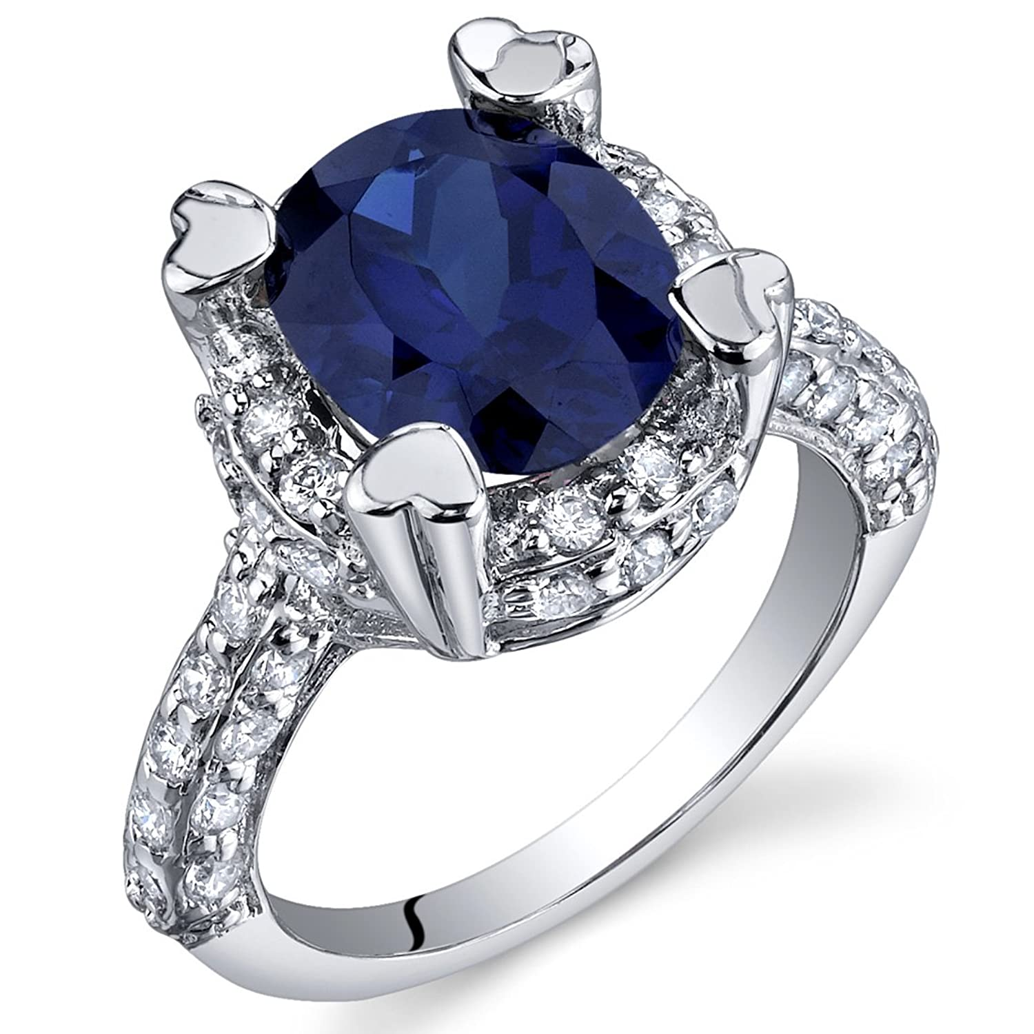 Created Sapphire Ring Sterling Silver Rhodium Nickel Finish Oval Shape 3.75 Carats Sizes 5 to 9