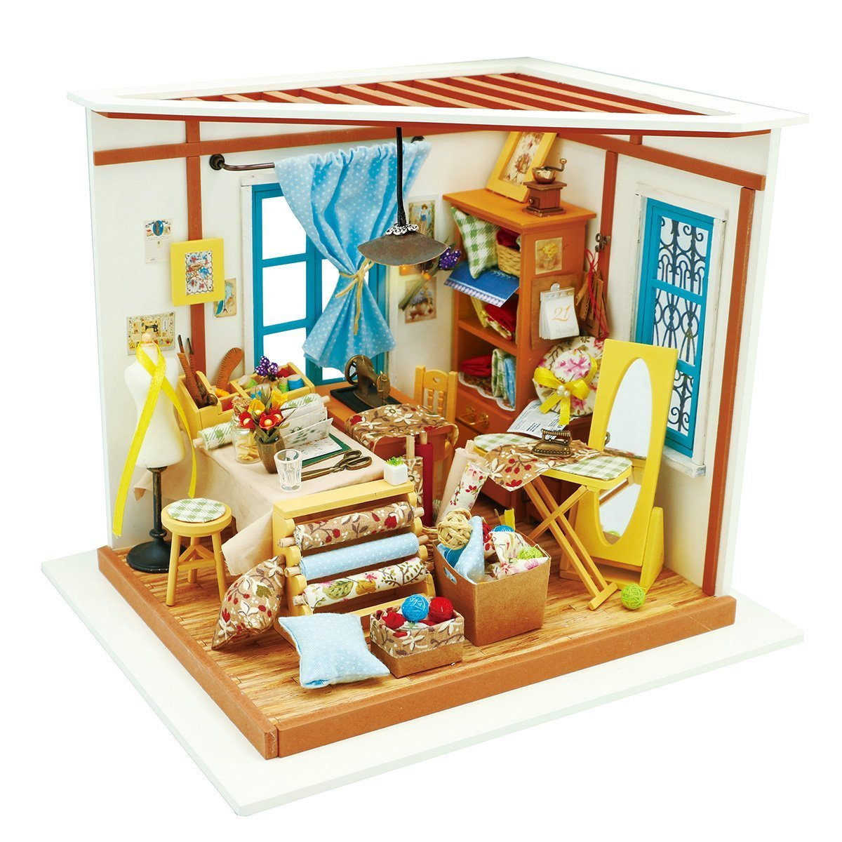 ROBOTIME DIY Wooden Miniature Dollhouse Furniture Accessories Sewing Room with LED light-Creative Toys for Boys and Girls DG101