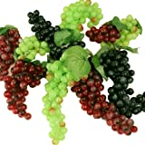 3 Pack- Artificial Plastic Fruit Grapes Cluster Home Office Decoration Green