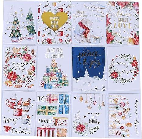 SUNSKYOO 12 Pcs Message De Noël Carte Estampage Lettre