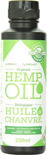 Manitoba Harvest Certified Organic Cold Pressed Hemp Seed Oil, 250ml, 10g of Omegas per Serving, Non-GMO