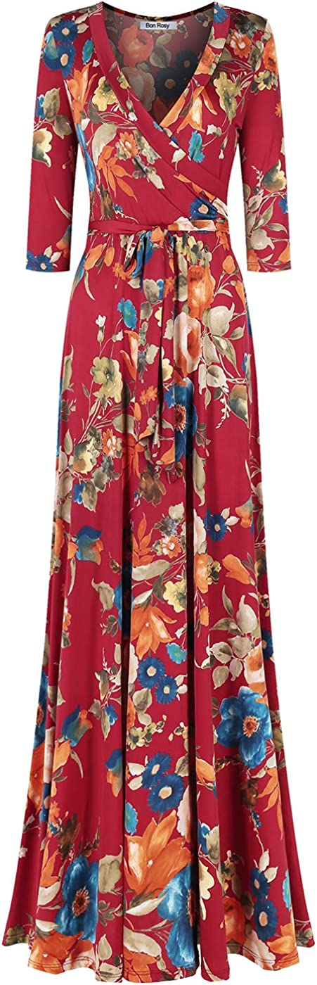 Bon Rosy Womens #MadeInUSA 3//4 Sleeve V-Neck Printed Maxi Faux Wrap Floral Dress