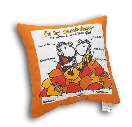 Sheepworld 49197 - Cojín de algodón con Mensaje Hora de mimos (en alemán), Color Naranja y Blanco