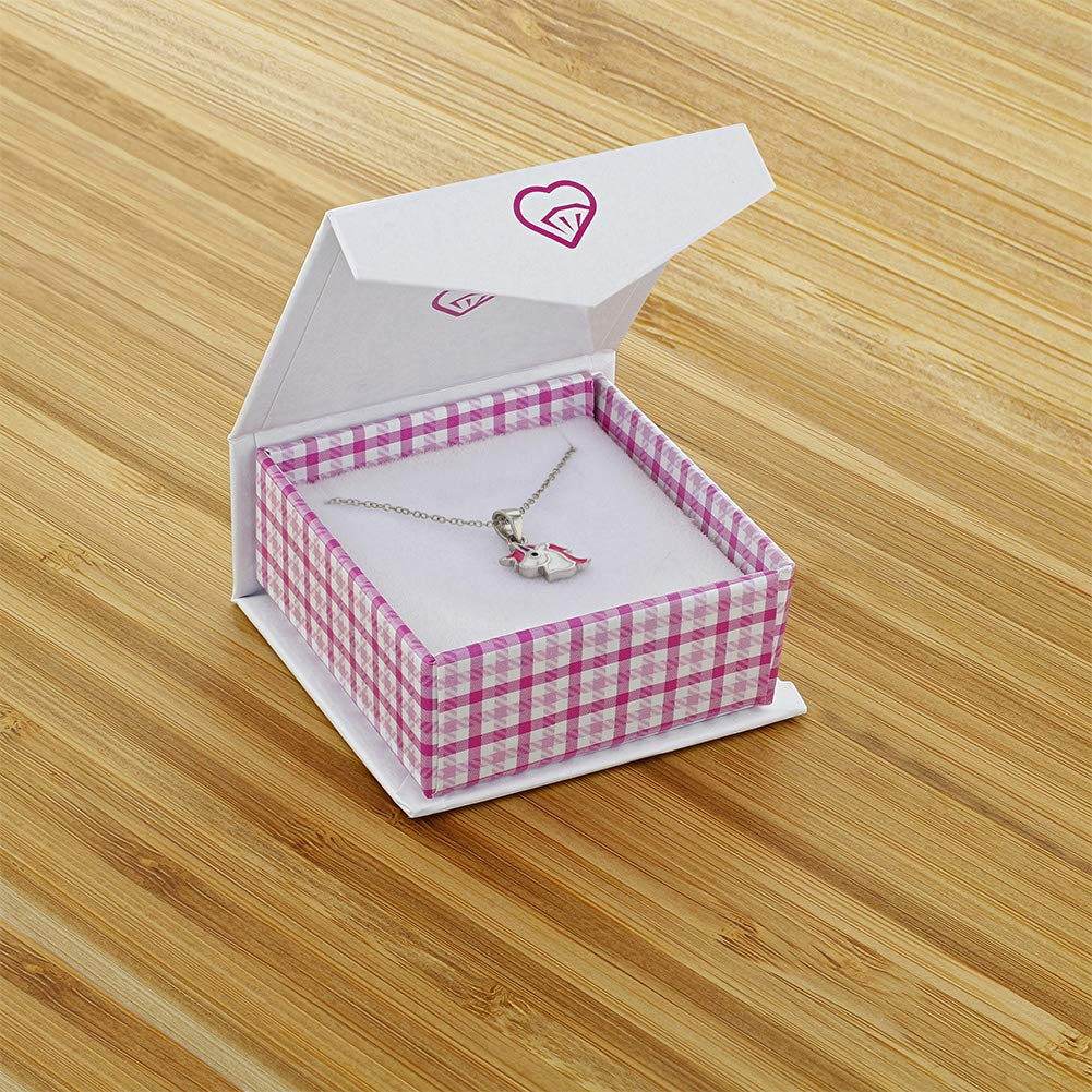 925 Sterling Silver Pink White Enamel Unicorn Necklace Pendant for Girls 16