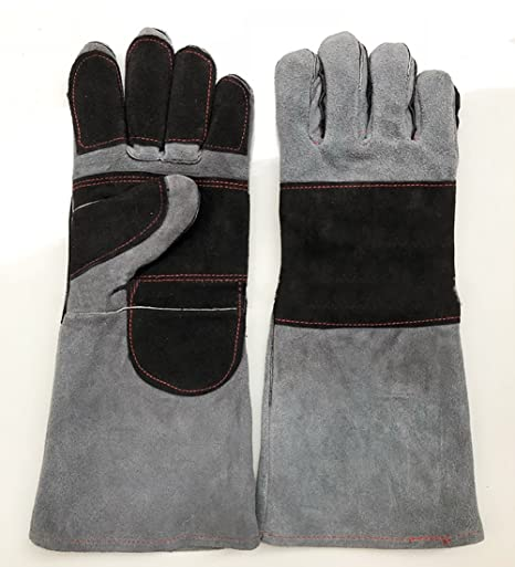 Genuine Leather Welding Gloves Extreme Heat Resistant BBQ Grilling Camping Cooking Weld Gloves Wear Resistant For Cooking//Baking//Mitts for Oven//BBQ//Gardening//Tig Welder Random Color DHST01 ZhuoLang