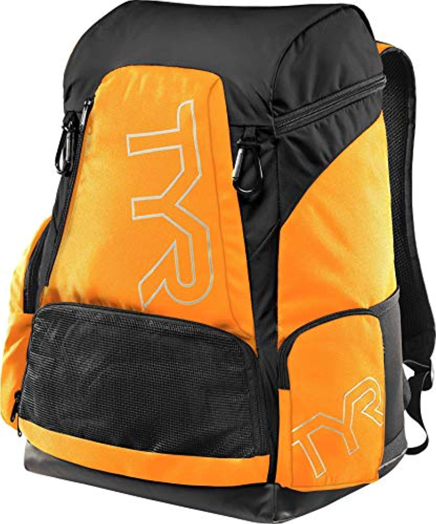 Swim Bundle: TYR Alliance 45L Backpack Fluorescent Orange All & Swim Earplugs by Competition Swimwear