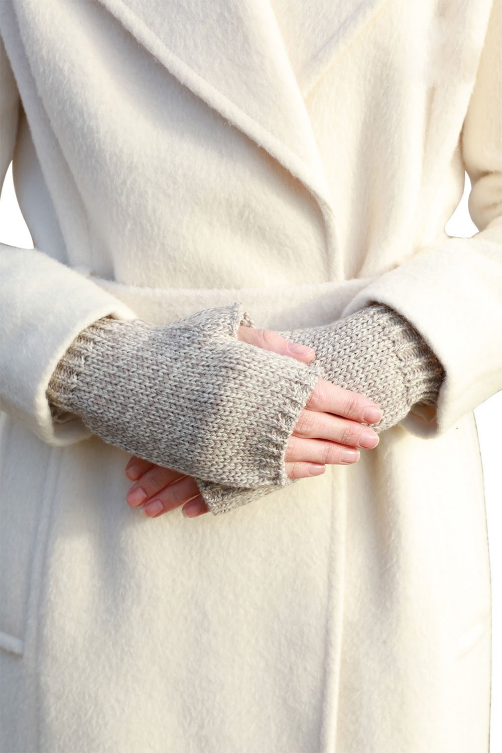 SuperSoft Merino Wool Fingerless Knit Gloves (Toasted Oat)