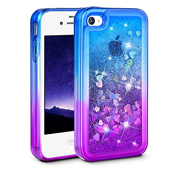brand new d615d 49d2e iPhone 4 Case, iPhone 4S Case, Ruky [Gradient Quicksand Series] Glitter  Flowing Liquid Floating Protective Shockproof Clear TPU Girls Case for  iPhone ...