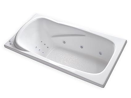 Carver Tubs   AT7136 Hygienic Aqua Massage 12 Jet Whirlpool Bathtub  W/Inline Water Heater