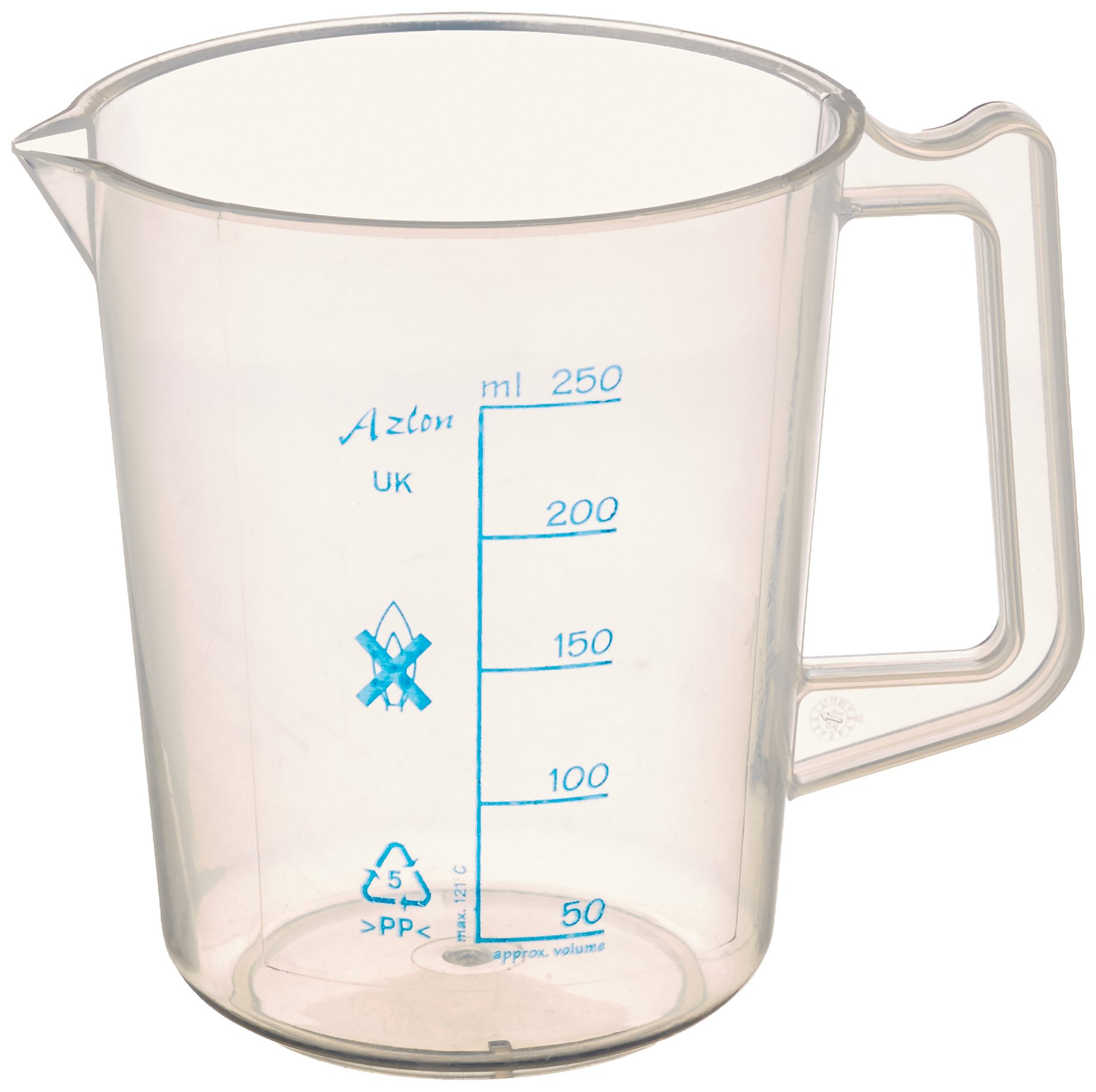 Azlon 526475-0250 Polypropylene Intermediate Form Graduated Beaker/Lab Pitcher with Handle Printed Graduations, 250 ml Capacity