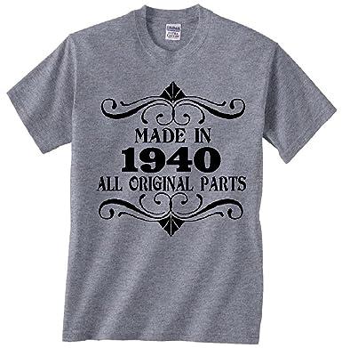 Amazon com: Made in 1940 All Original Parts Gray T Shirt