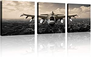 TutuBeer Vintage Airplane Wall Art Giclee Canvas Vintage Airplane Canvas Prints Old Paper Airplane Pictures Canvas Stretched and Framed Aircraft Pictures Paintings Artwork for Home Decor,3 pcs/set