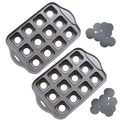 Amazon.com: Tosnail 2 Pack 12 Cavity Mini Cheesecake Pan with Removable Bottom, Muffin Pan, Cupcake Pan - Square: Kitchen & Dining