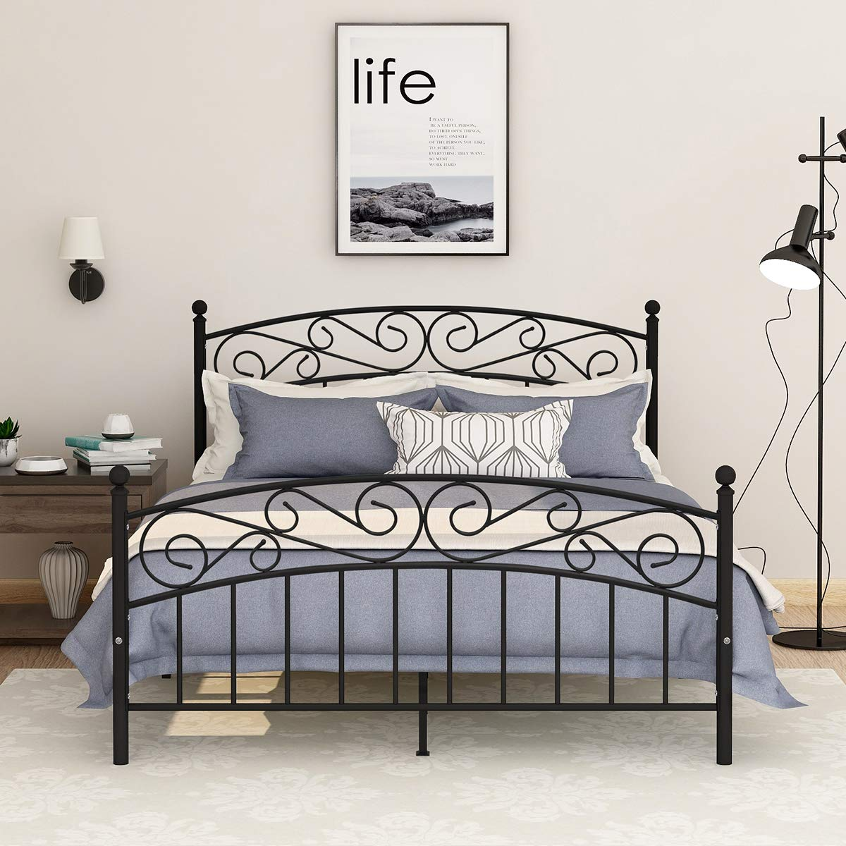 AUFANK Metal Beds Victorian Style Platform Bed Frame with Headboard Footboard Heavy Duty Slat No Box Spring Queen Size Black