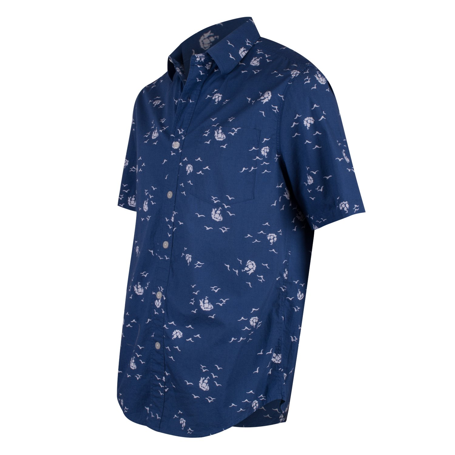 3e5d6230 Campia Moda Men's Washed Cotton Modern Fit Print Shirt (Navy Abstract Bird  and Ship Print, S) at Amazon Men's Clothing store: