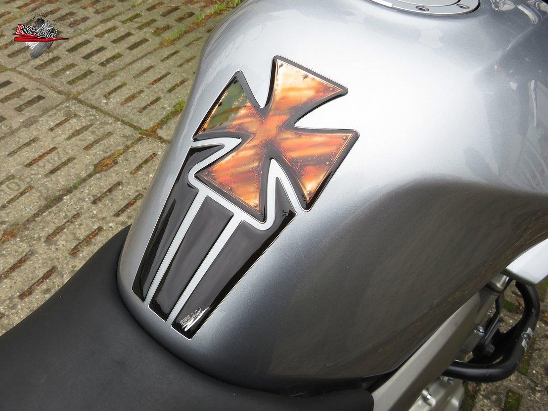 502261-VA Tankpad 3D Iron Cross Vintage-Optik Tank-Schutz f/ür Motorrad-Tank
