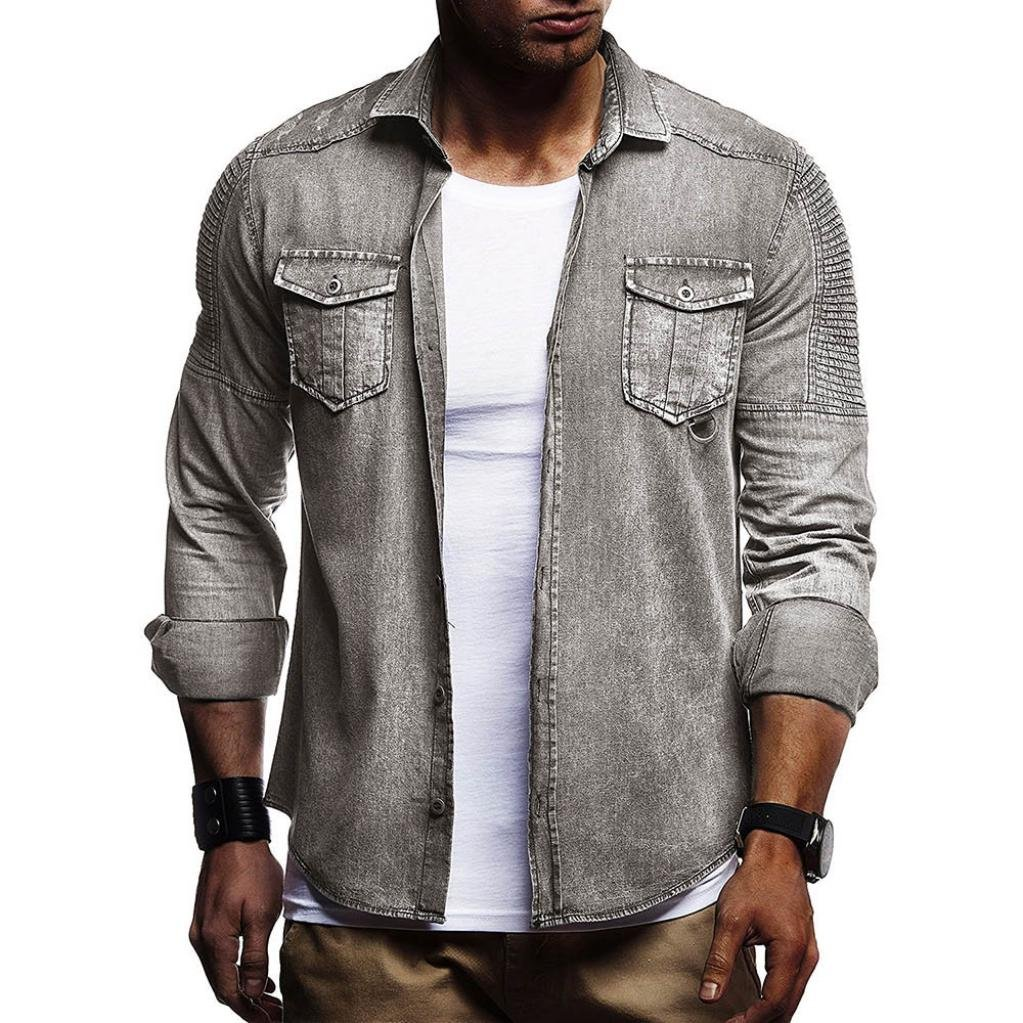 Yuxikong Mens' Coat,Casual Slim Fit Button Shirt with Pocket Long Sleeve Tops Blouse (Gray, XL)
