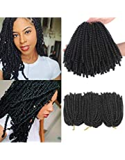 Xtrend 3 Packs Spring Twist Hair Bomb Twist Braiding Hair Passion Twist Hair Crochet Braids Fluffy Twist Hair Extensions 8 Inch 1B