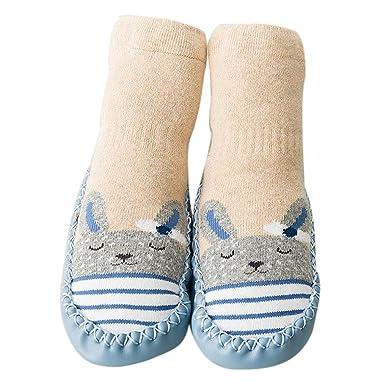 b7566afa4fe26 Ouneed® Bebe Doux Cuir Premier Pas Chaussons Chaussettes avec semelle en  cuir  Amazon.fr  Vêtements et accessoires