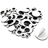 TOAOB 100pcs Black Plastic Googly Wiggle Eyes Self-Adhesive Round 6mm to 35mm Mixed Assorted Sizes Sticker Eyes for DIY Craft
