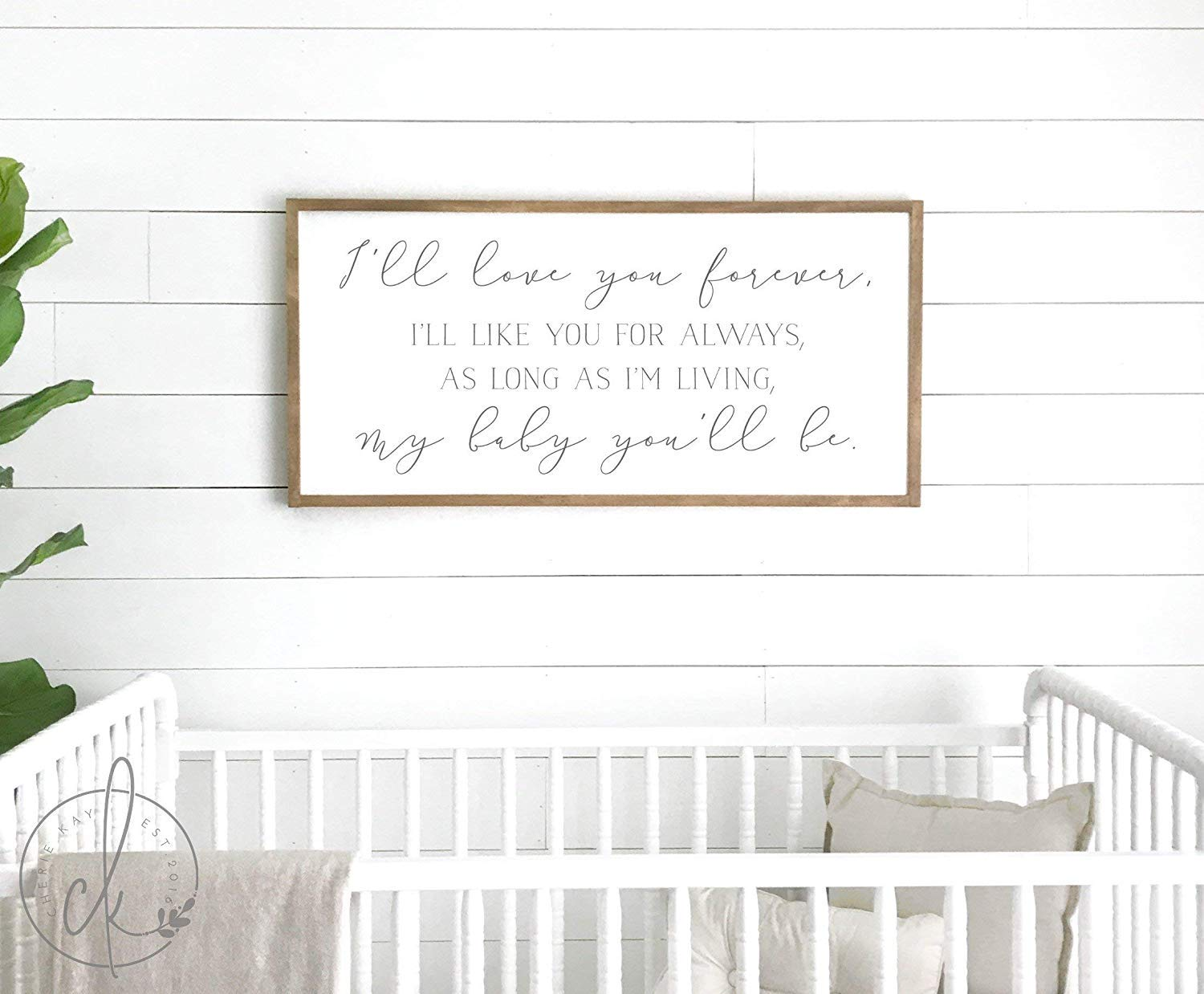 Nursery Room Sign | Ill Love You Forever Sign | Nursery Room Decor | Nursery Wall Decorations | Crib Sign | Sign Above Crib by Framed Sign