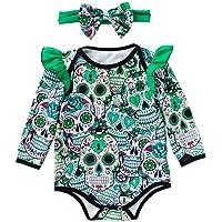 Fairy Baby Newborn Girls 2pcs Halloween Costume Clothes Ruffle Skull Bodysuit+Headband Set