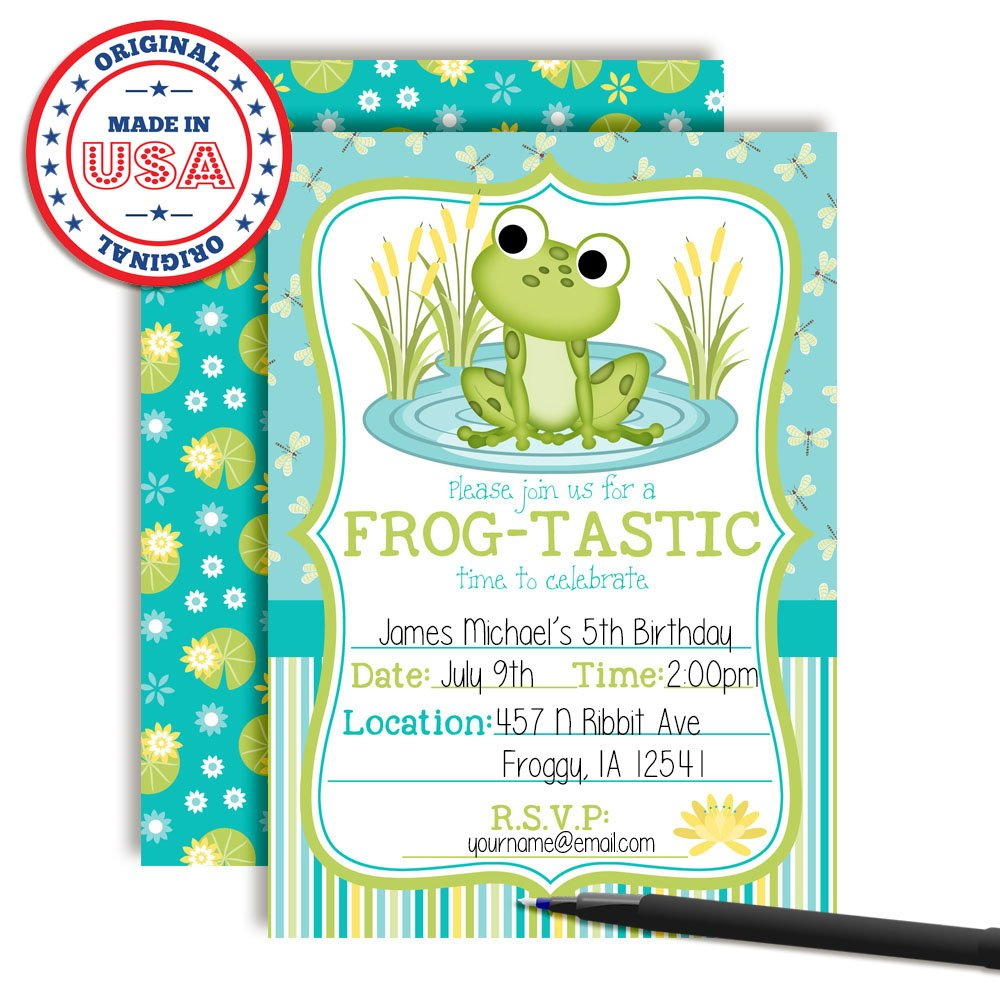 Amazon Little Frog Birthday Party Invitations For Boys 20 5x7 Fill In Cards With Twenty White Envelopes By AmandaCreation Toys Games