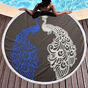 chenguang4422 Peacock Printed Round Beach Towel Yoga Picnic Mat Round Tablecloth Ultra Soft Super Water Absorbent Terry Towel with Tassels