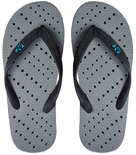 aba1f2b229eb Aquaflops Mens  Antimicrobial Shower   Water Sandals - Grey Turquoise  Diagonal Stripe ...