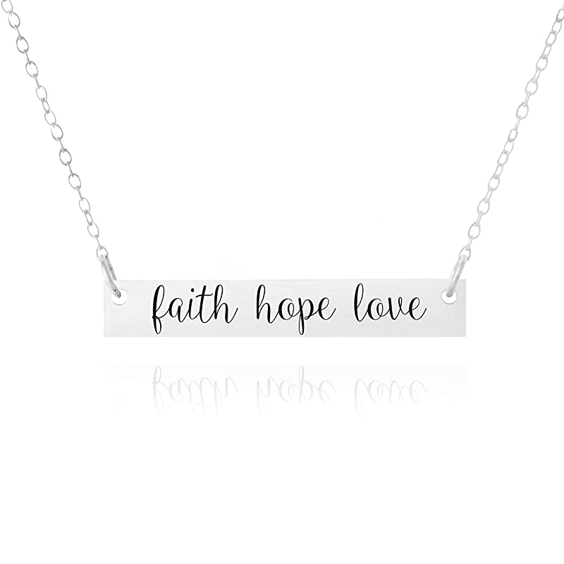 Carat in Karats Sterling Silver Polished Love Hope Faith Engraved Pendant