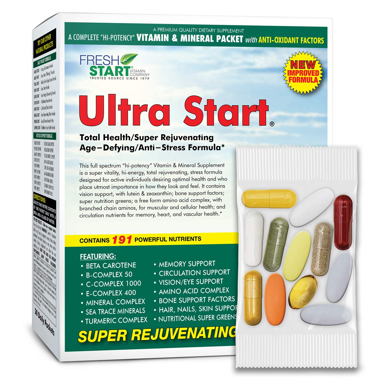 Ultra Start - Complete Daily Vitamin Packet | Premium Multivitamin Supplement with Antioxidants | Anti-Stress + Anti-Aging + Rejuvenating + Total Health | 30-Day Supply