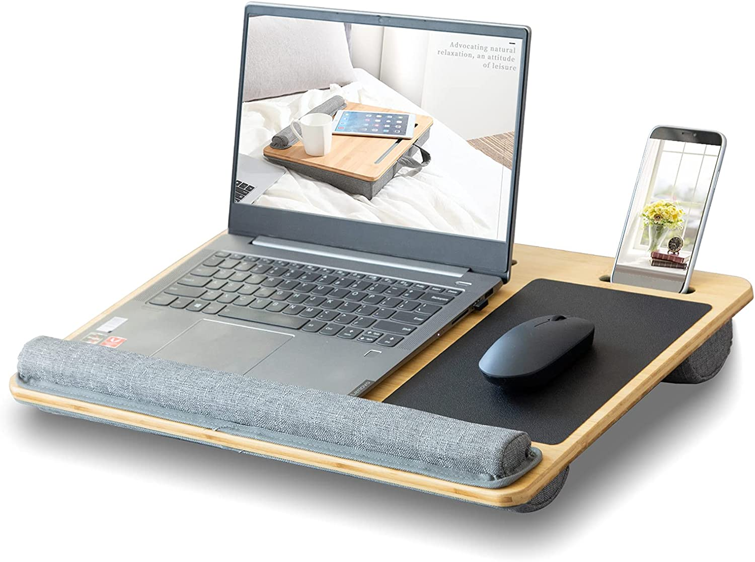 """Laptop Lap Desk, Fits Up to 17"""" Laptop, Laptop Desk with 2 Slots Holder Use for Pencil Phone Tablet, Lap Desk with Cushion, Wrist Rest & Built-in Mouse Pad, Laptop Desk for Bed & Sofa (Wood Grain)"""