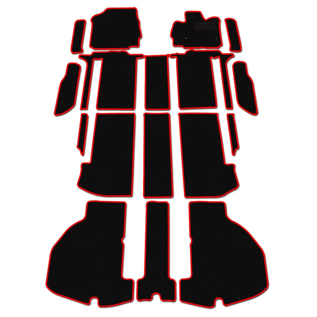 D.Iプランニング カー用品 フロアマット & ステップマット セット 型番9 【 トヨタ ヴェルファイア 30系 】 車用 カーマット 黒無地/赤フレーム B079DNHR1Q 型番9  型番9