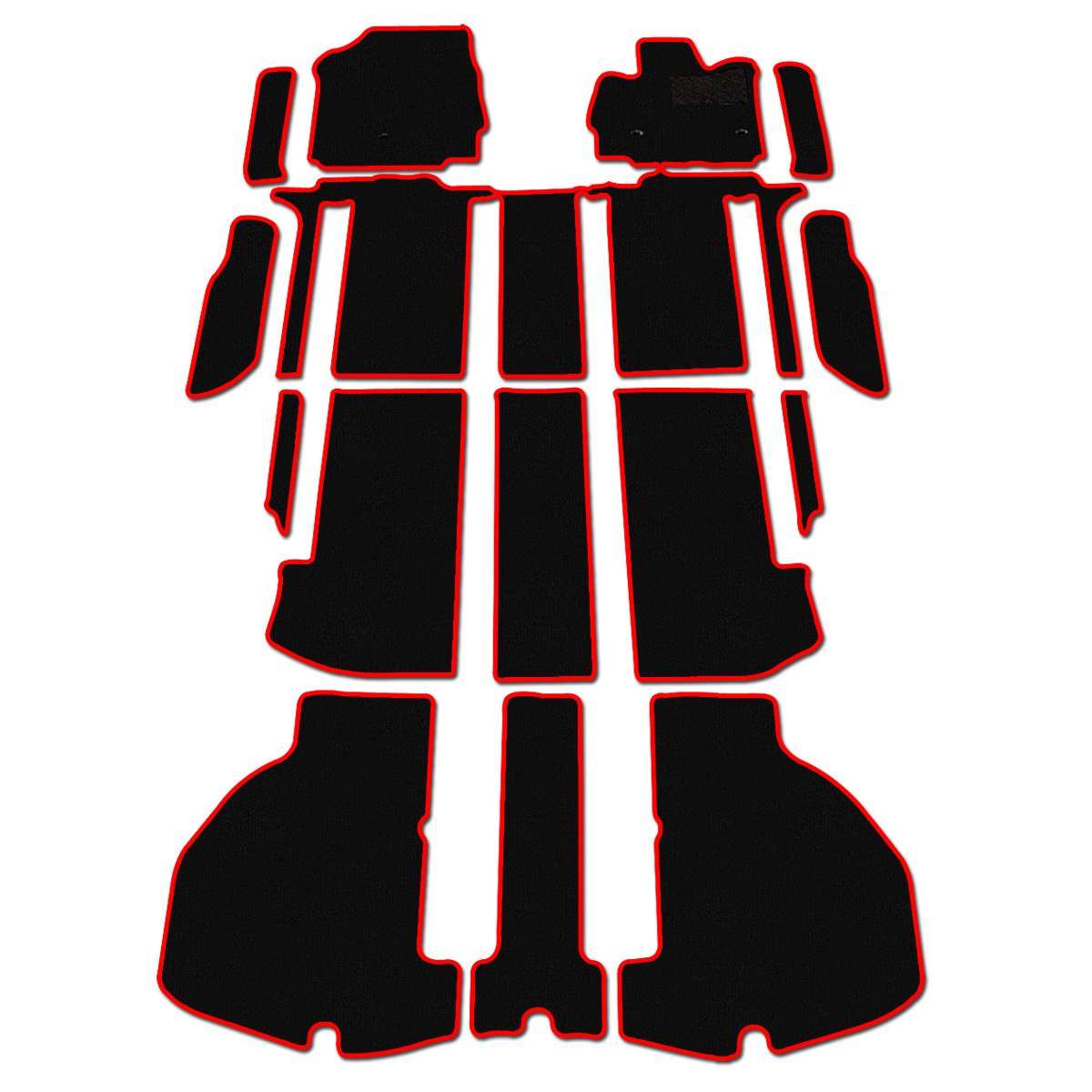 D.Iプランニング カー用品 フロアマット & ステップマット セット 型番3 【 トヨタ ヴェルファイア 30系 】 車用 カーマット 黒無地 赤フレーム B01J9C9UNM   型番3