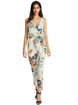 06d8a9565988 Image Unavailable. Image not available for. Color  Sheinside Women s White  Spaghetti Strap Leaves Print Slim Jumpsuit