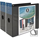 Business Source 2 Pack,Office Binder 5-Inch Slant D-Ring View Binder - Black (BSN28451)