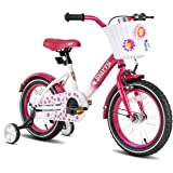 JOYSTAR Starry Kids Bike for Ages 3-9 Years Girls with Hand Brake and Basket, 14 16 18 Inch Princess Bikes Bicycles with Trai