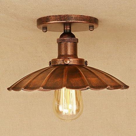 Retro Lámpara de techo Vendimia Industrial Diseño Plafón Redondo Rústico Techo Ligero Innen Iluminación de techo Sala Cocina Pasillo Vestíbulo ...