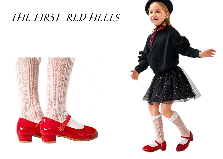 THEE BRON Toddler Little Girls Low Medium Heel Dress Flats Mary Jane Pump