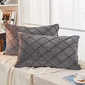 JAUXIO Diamond Pinch Pleated Crystal Velvet Pillowcases 2 Pack Solid Pintuck Throw Cushion Cover for Home Decor Hidden Zipper Closure (20x26 Inches, Dark Grey)