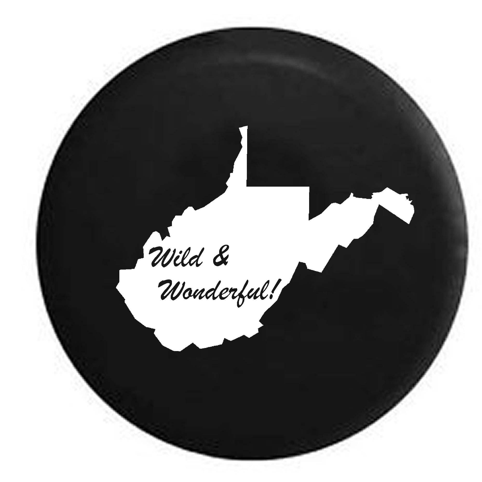 West Virginia Wild & Wonderful State Edition RV Spare Tire Cover OEM Vinyl Black 27.5 in