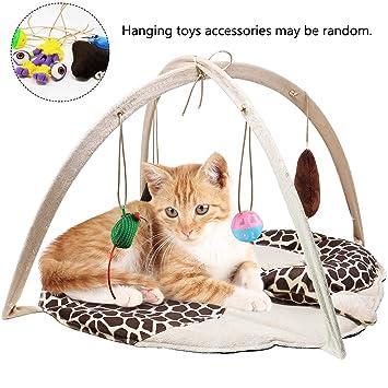 VAMEI Juguetes para Gatos, Cat Play Mat Bed Gato Juguete con 4 Juguetes Colgantes Bell Balls Crinkle Toy para Gatos Gatito: Amazon.es: Productos para ...