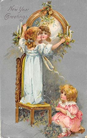 new year greetings children with mirrors antique postcard k97933