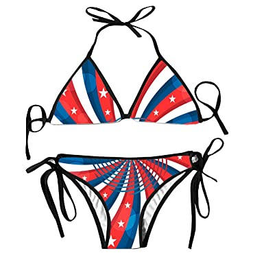 3e98cdbd813c2 Women's Sexy Strappy Push up Padded High Waisted Thong Hollow Out American  Flag Stars Bikini 2pcs