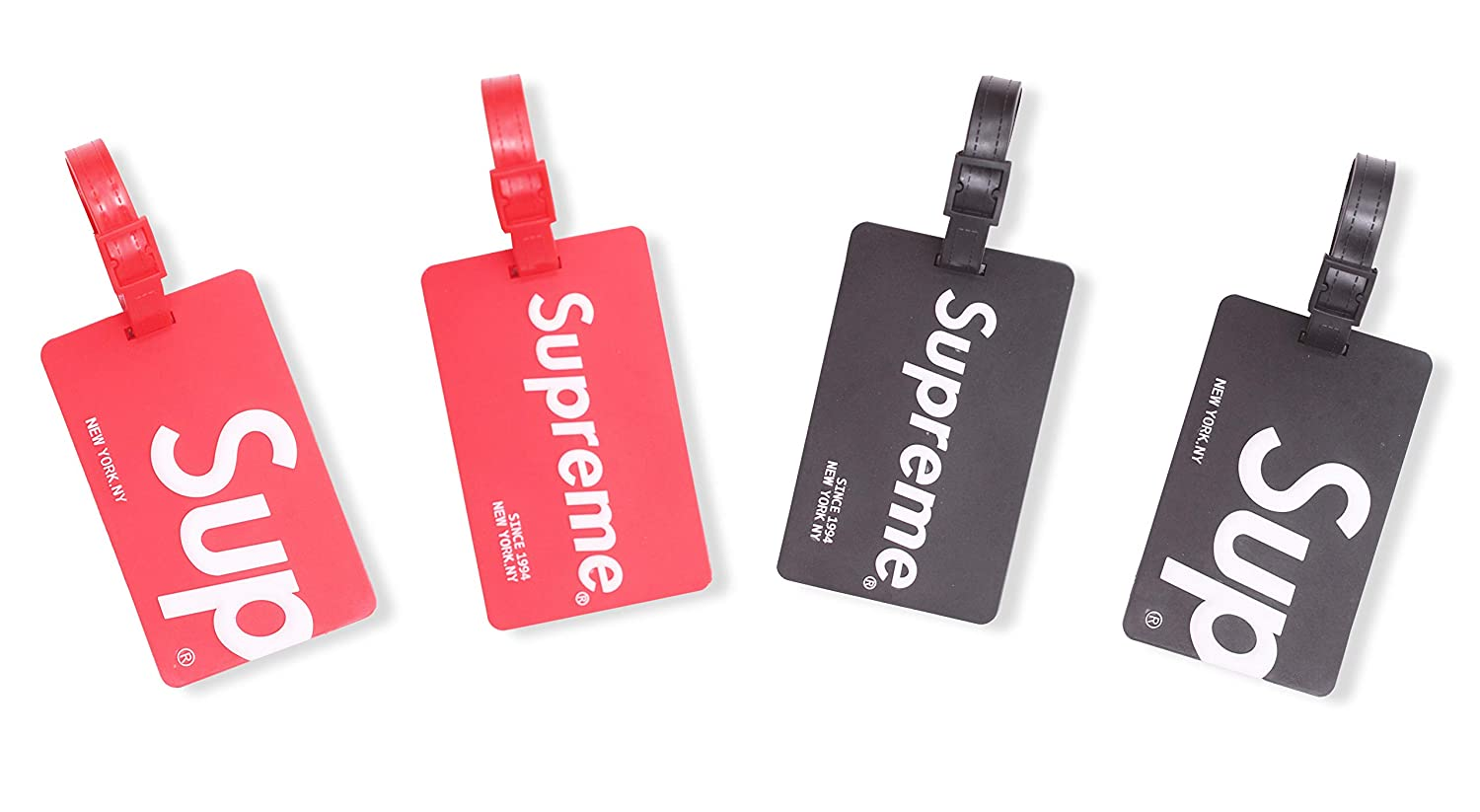 fe9f91a4149 Amazon.com  Finex Set of 4 - Supreme Travel Silicone Luggage Tags Bag Tag  Adjustable Strap  Office Products