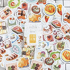 46PCS Scrapbooking Sticker Delicious Food Dinning Sticker Kawaii Washi Stickers for Journal Planner Notebook Laptop Stationery Diary Albums Decoration
