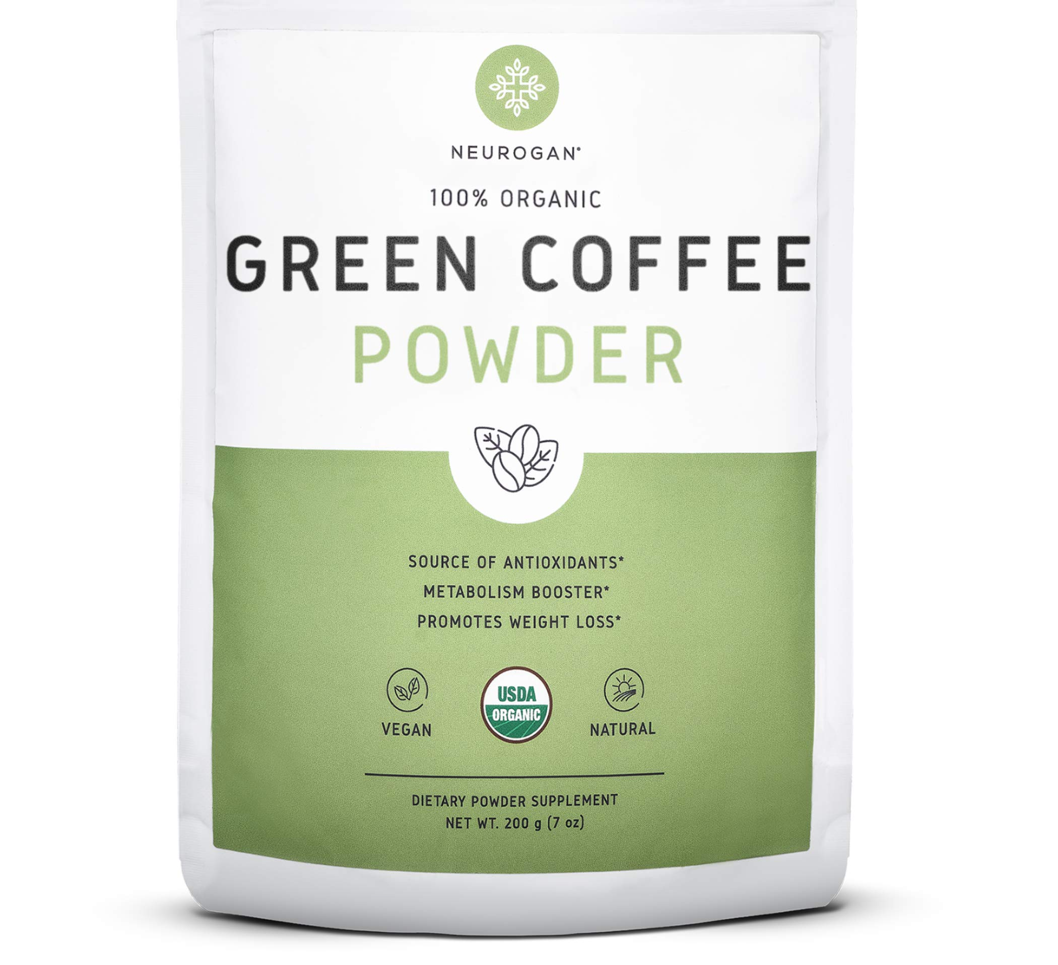 Neurogan Green Coffee Bean Powder 200g - Organic Pure Extract for Metabolism Boost, Potent Weight Loss Management, Overall Health Improvement, and Aging Prevention, Non-GMO and Vegan Friendly by Neurogan