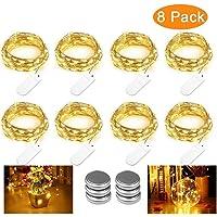 Qedertek 8 Pack Guirnalda Luces LED Pilas, Luces