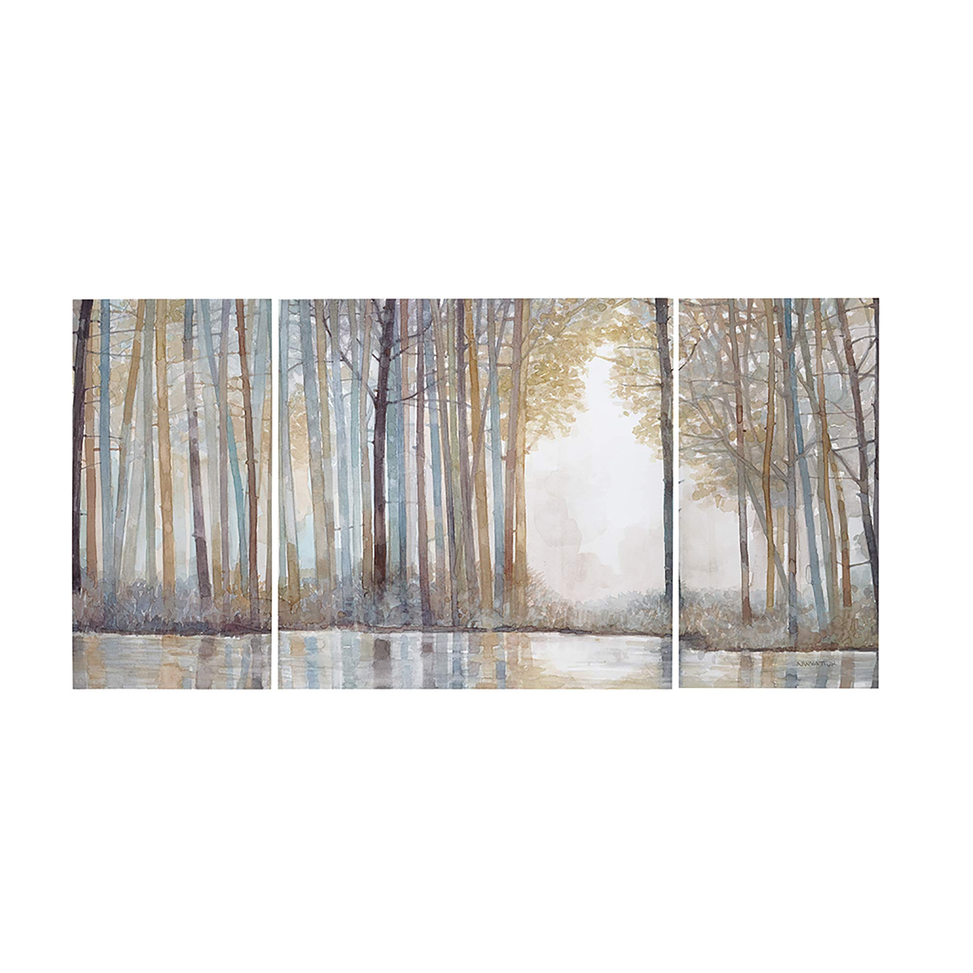 Madison Park Forest Reflections Wall Art - Canvas Wall Art Rustic Home Décor Autumn Color - Bamboo Stretched Wall Art for Living Room- 3 Piece Set Painting Canvas by Madison Park